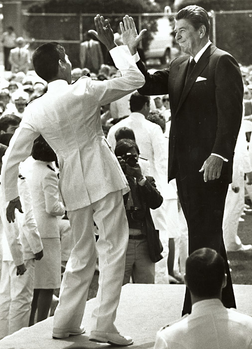 Barry Thumma - Graduation High-Five ( President Reagan and Naval Academy Gruaduate)