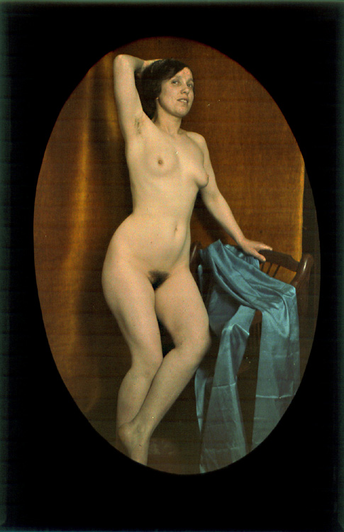 Anonymous - Female Nude Draped with Blue Veil
