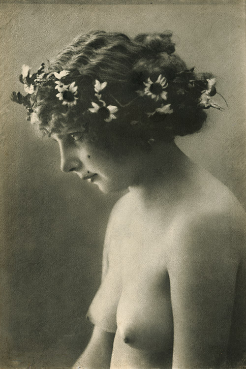 Anonymous - Female Nude with Wreathe of Flowers