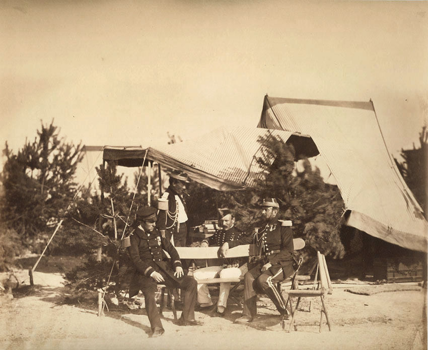 Gustave Le Gray - Chalons Encampment Scene: Lieutenant of Champagny , Capitaine Friant, the Prince Murat and Colonel Lepic