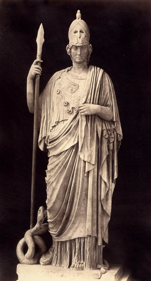 Robert MacPherson - Statue of  Athena Helmed, Holding Spear, and Attended by Serpent, Rome, Italy