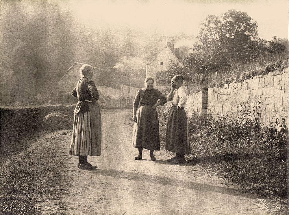 Leonard Misonne - Country Women Stopping to Converse on a Village Road in Belgium
