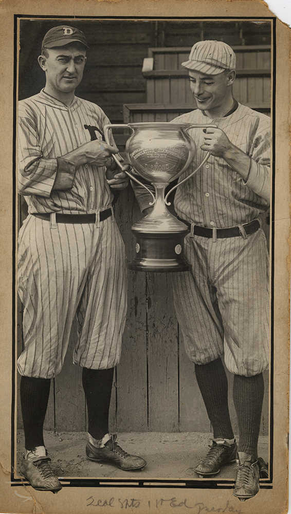 Anonymous - Ty Cobb (left) and Carl Sawyer (right)  Holding Championship Trophy