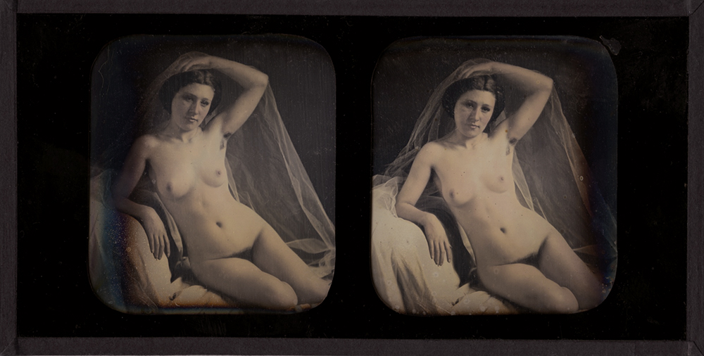 Bruno-Auguste Braquehais (attributed to) - Seated Female Nude with Veil