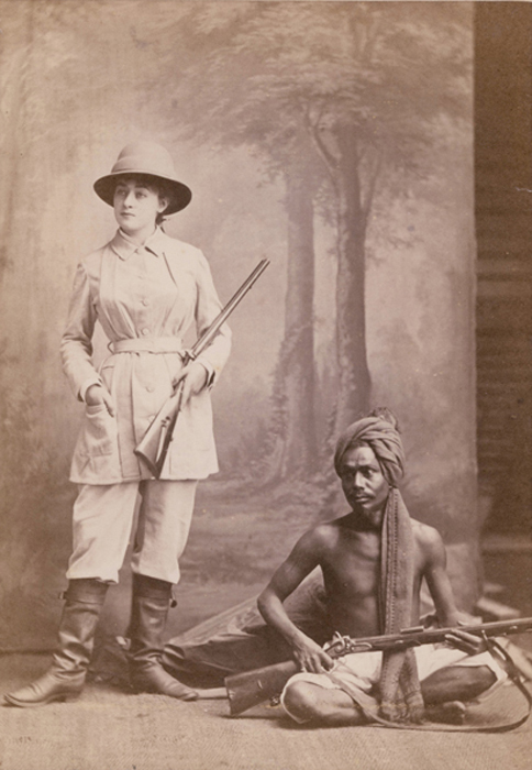 Bourne and Shepherd - Woman Hunter Posed with Indian Guide and Rifles in Studio