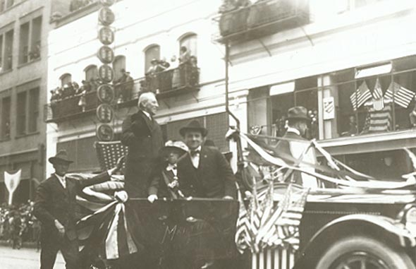 Martin (Spokane WA) - President Woodrow Wilson in Flag-Draped Car in Spokane, WA