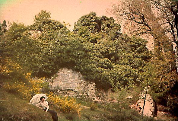 Anonymous - Woman with Parasol in Landscape of an Overgrown Ruin