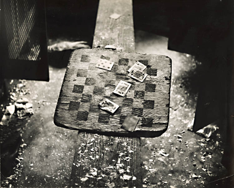 Cards and Checkerboard in Abandoned Locker Room for Railroad Workers