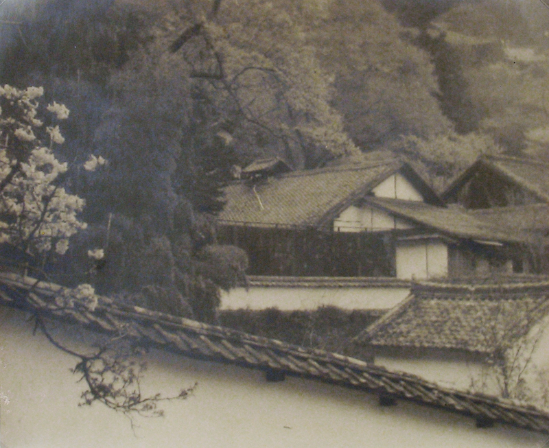 Anonymous (Tokyo Archive) - Rural homes nestled in trees with cherry blossoms, wall in foreground