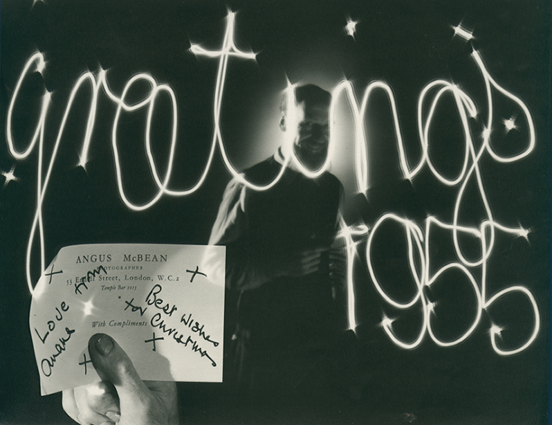 Angus McBean - Prototype for 1955 Christmas Card  - Self Portrait with Light Drawing