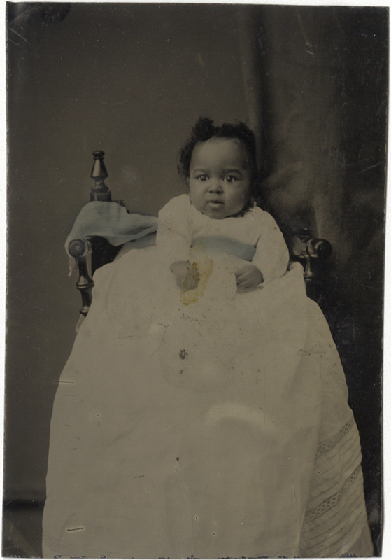 Anonymous, American - Portrait of African American Baby in Elaborate White Gown with Blue Sash