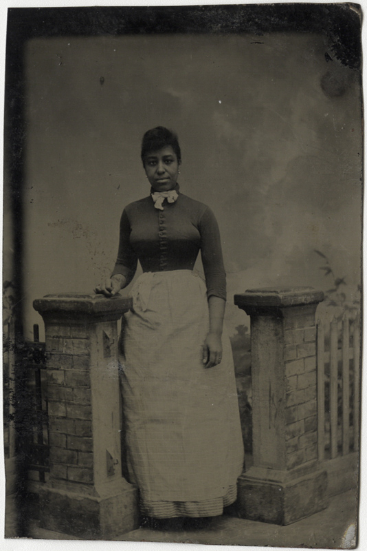 Anonymous, American - Portrait of an African American Woman Leaning on Stone Column