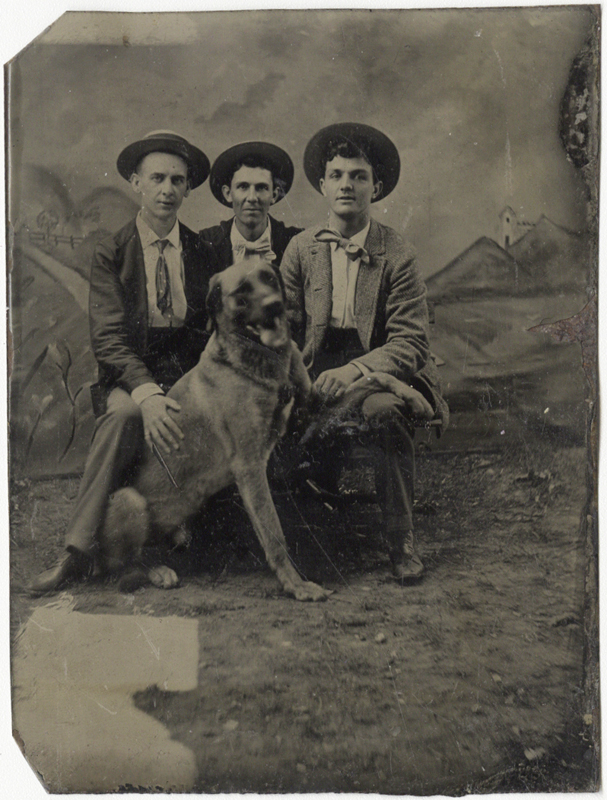 Photo Exhibit | Detail | Anonymous, American - Portrait of Three Men and a Dog