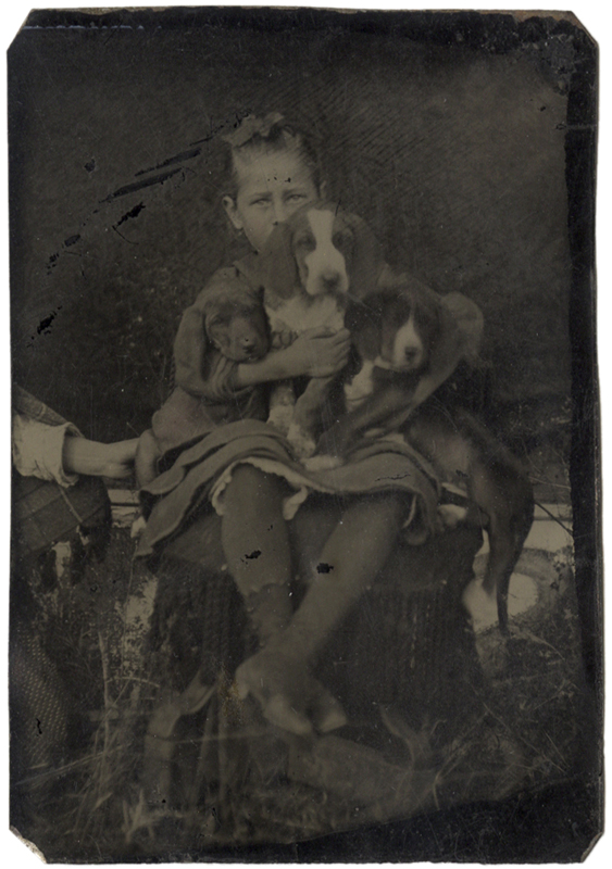 Anonymous, American - Girl with Three Puppies