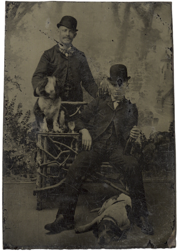 Anonymous, American - Two Men, Two Dogs
