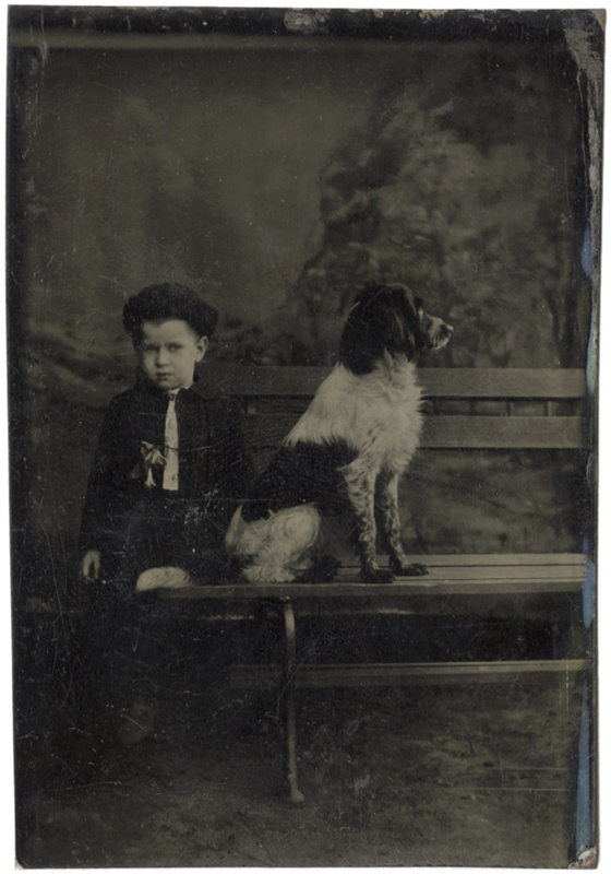 Anonymous, American - Studio Portrait of a Boy and His Dog