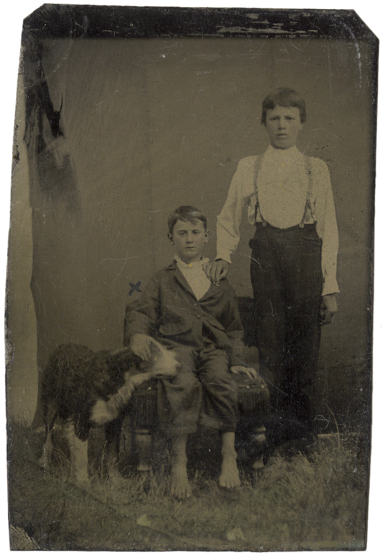 Anonymous, American - Two Boys and Their Dog