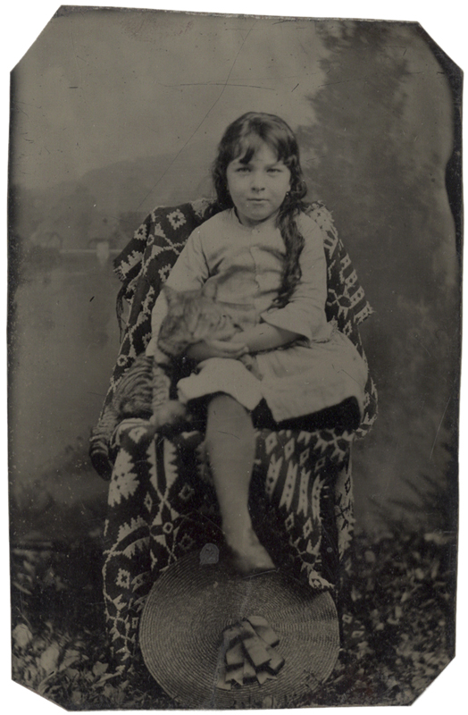 Anonymous, American - Girl Seated with her Cat