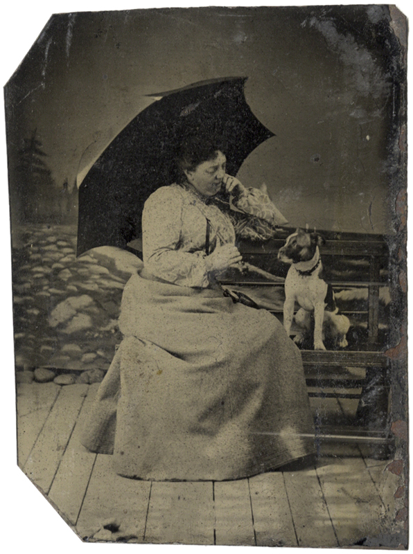 Photo Exhibit | Detail | Anonymous, American - Woman with Umbrella and Dog