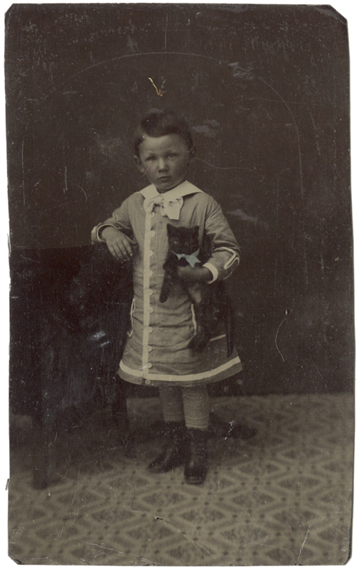 Anonymous, American - Little Girl Holding Cat