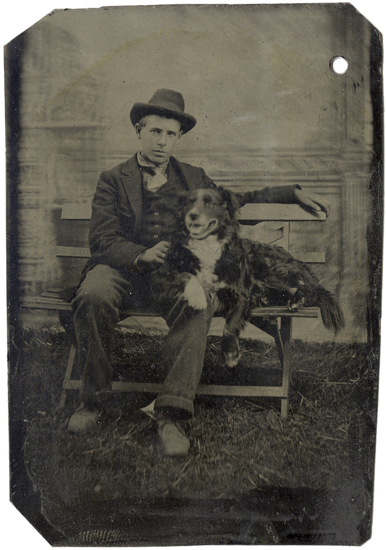 Anonymous, American - Young Man and His Dog Sitting on a Bench