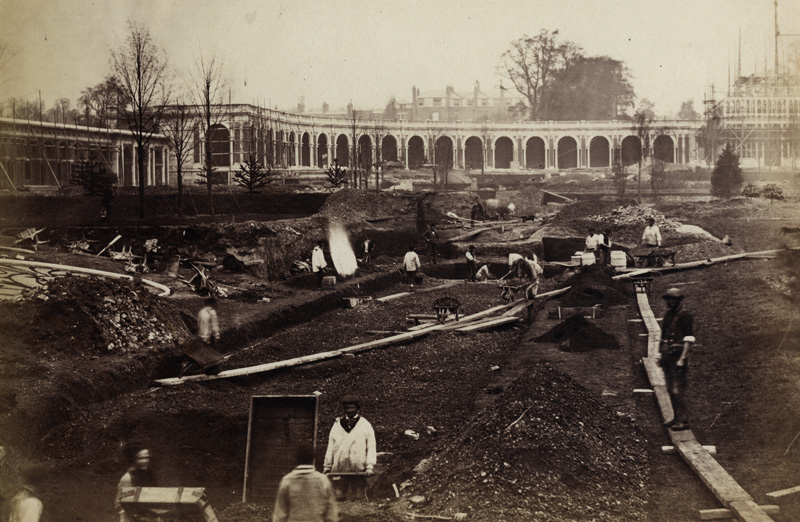 B. L. Spackman (attributed to) - Construction of the 1862 International Exhibition at South Kensington [Excavation of the Gardens]