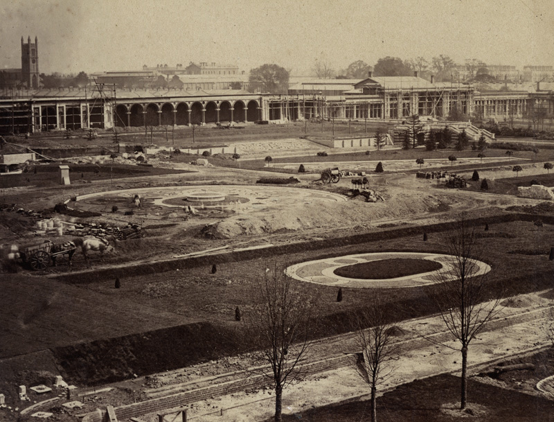 B. L. Spackman (attributed to) - Construction of the 1862 International Exhibition at South Kensington [View of Gardens]