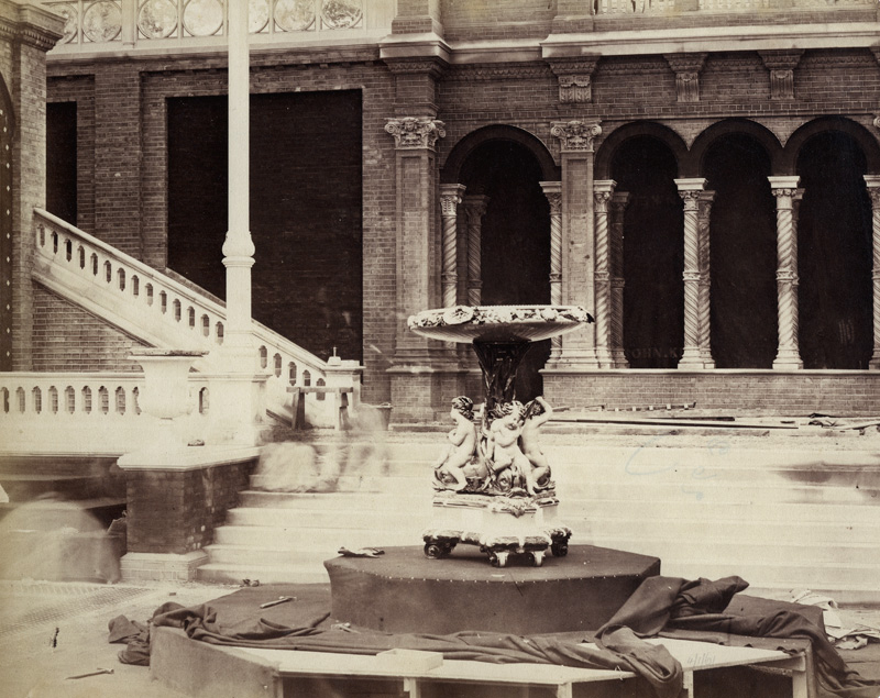 B. L. Spackman (attributed to) - Construction of the 1862 International Exhibition at South Kensington  [View with Garden Sculpture]