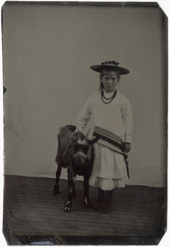 Anonymous, American - Portrait of a Young Girl with her Goat