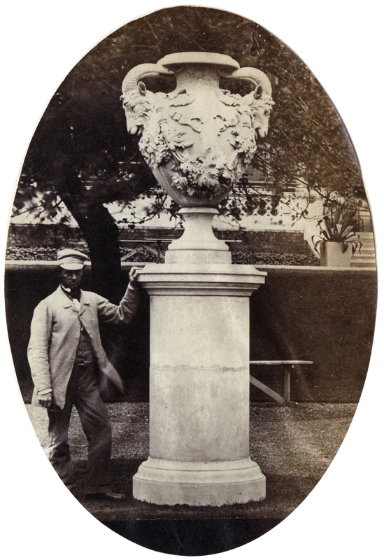 Anonymous - Man Standing Beside Garden Statue, 1862 International Exhibition, South Kensington