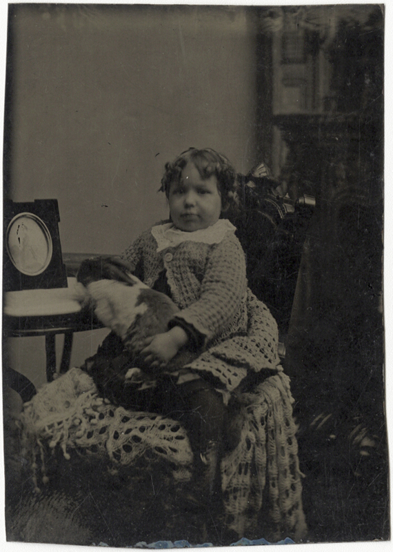 Anonymous, American - Portrait of a Young Girl Holding a Large Rabbit on her Lap
