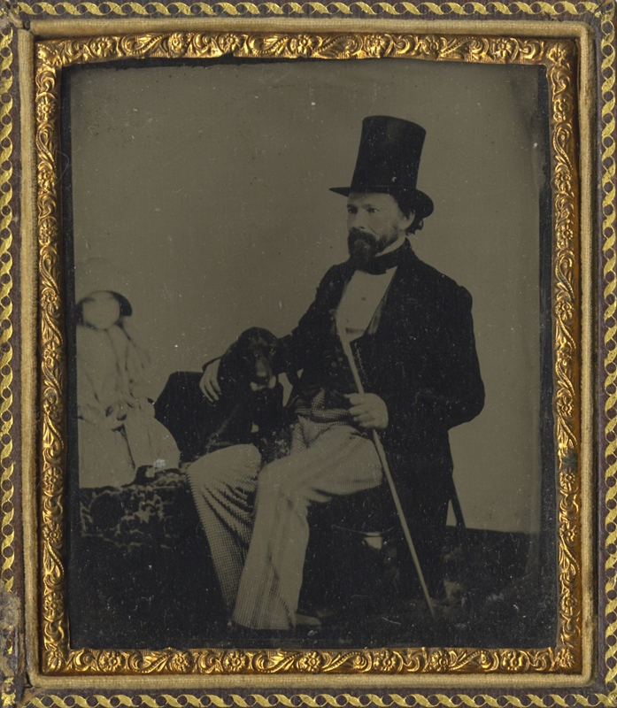 Anonymous, American - Portrait of a Man with Top Hat and Cane, and his Dog