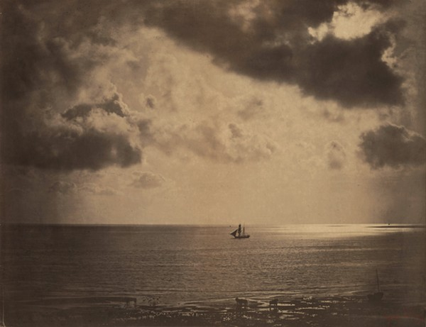 Gustave Le Gray: The Brig (Brick au Clare de Lune). Albumen print from wet plate negative, 12-7/8 x 16-3/8 in. (327 x 416 mm), 1856-57/1856-57, on original mount. Mounted, with photographer's red stamp at lower right.