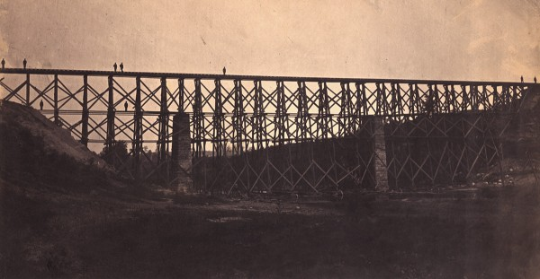Capt. Andrew Joseph Russell, Richmond, Fredericksburg and Potomac Railroad's Potomac Creek Bridge after Reconstruction, May 1864