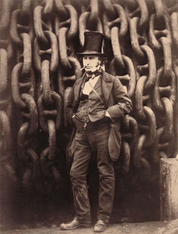 Isambard Kingdom Brunel standing before the giant chains of the ship